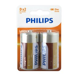 Battery Pk 2 Size D Longlife Philips