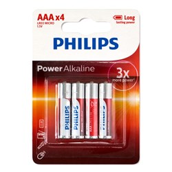 Battery Pk 4 AAA Alkaline Philips