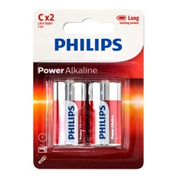 Battery Pk 2 Size C Alkaline Philips