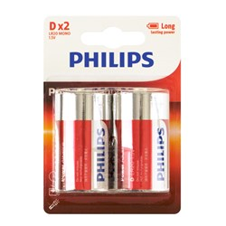 Battery Pk 2 Size D Alkaline Philips