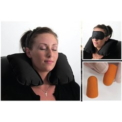 Travel 3pc Set Eye Mask / Pillow / Ear Plugs