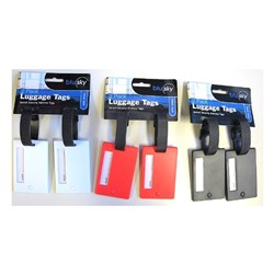 Luggage Tag Swivel Security 2Pack 3 Clr Ass Blk Red White