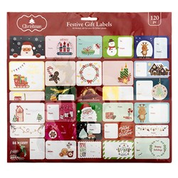 Gift Labels Xmas S/A Pk120 w 4C/Foil/Glitter