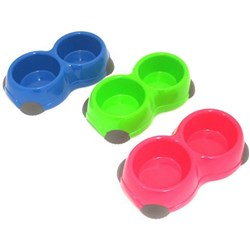 Pet Bowl Double w Antiskid Feet 3 Asstd Cols