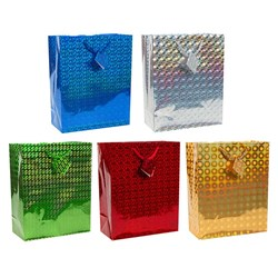Gift Bag HOLOGRAPHIC Large 26x32x12cm 5 Asstd Cols