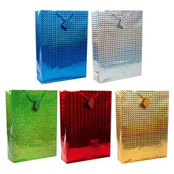 Gift Bag HOLOGRAPHIC Ex Large 33x45x10cm 5 Asstd Cols