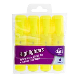 Highlighter 4pk Fluro Yellow Chisel Tip in PVC Wallet