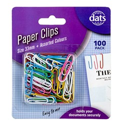 Clip Paper 33mm 100pk Mixed Cols PVC Coating