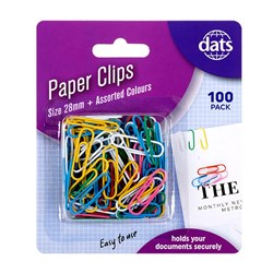Clip Paper 28mm 100pk Mixed Cols PVC Coating