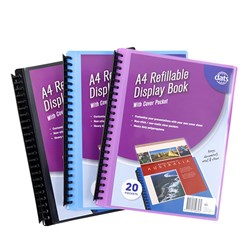 Display Book PP Cover w Insert A4 20 Pockets Asstd Cols