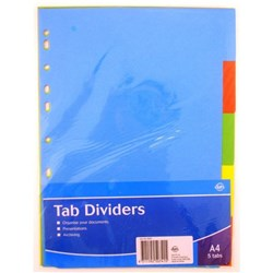 Tab Dividers Paperboard A4 5 Tabs 180gsm