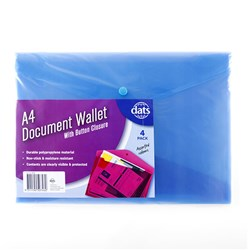 Document Wallet PP w Button Closure A4 4pk Mixed Cols