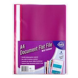 Document File Flat PP A4 w Fastener 4pk Mixed Cols