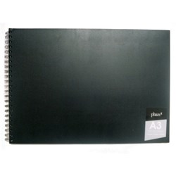 Diary Visual Art PP Blk 110gsm A3 120pg Short Spiral