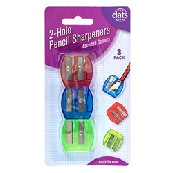 Sharpener Pencil 2 Hole 3pk