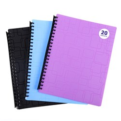 Display Book PP Cover A4 20 Pockets Asstd Cols Emb Pattern
