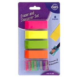 Eraser 4pc w Pencil Sharpener 4pc Set