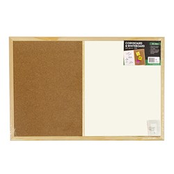 Combo Corkboard Whiteboard Wooden Frame 800x600mm