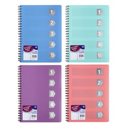 Notebook Basic PP Col A4 5 Sub 250pg W Cutouts