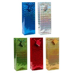Gift Bag HOLOGRAPHIC Large Bottle 13x36x8.5cm 6 Asstd Col