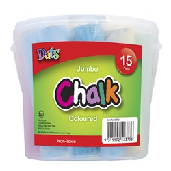 Chalk Jumbo Coloured 15pk in Bucket