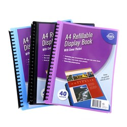 Display Book PP Cover w Insert A4 40 Pockets Asstd Cols