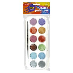Paint Set 12 Cols Metallic W Brush