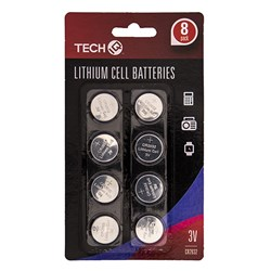 Batteries 3V Lithium 8Pk 1 Size Cr2032