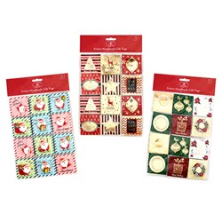 Gift Tags Xmas Foil/Glitter w Tip On S/A Pk24