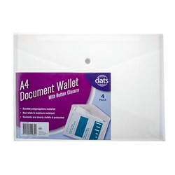 Document Wallet PP w Button Closure A4 4pk Clear