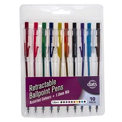 Pen Ballpoint Retractable 10pk Mixed Ink Cols