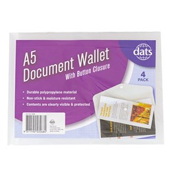 Document Wallet PP w Button Closure A5 4pk Clear