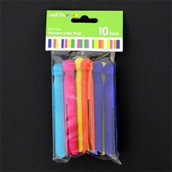 Craft Wooden Dolly Pegs Pk10 5 Colours