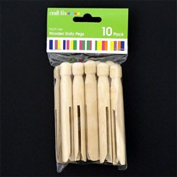 Craft Wooden Dolly Pegs Pk10 Plain Colour