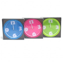 Clock Wall 20x20cm w Coloured Frame and Plate 3 Asstd