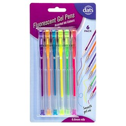 Pen Gel 6pk Mixed Fluro Ink Colours