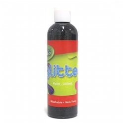 Paint Washable Bottle 250ml Glitter Black