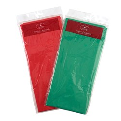 Tablecloth Xmas 150x270cm PEVA 2 Asstd Plain Colour Red Green