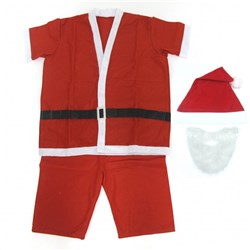 Suit Santa Summer Xmas 5pc Beard/Hat/Top/Trousers/Belt
