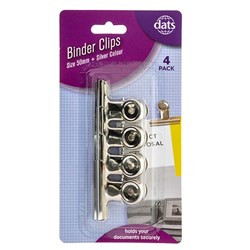 Clip Binder Silver 50mm 4pk