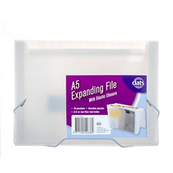 File Expanding PP A5 13Pockets w Elastic Closure Clear