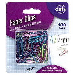 Clip Paper 33mm 100pk Mixed Metallic Cols