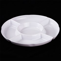 Melamine Tray Dip Round White 5 Section 27.5x27.5x2.8cm