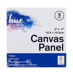 Canvas Panel Cotton 280gsm 3mm 4x4in 5pk P3.1 FSC-Mix 70%