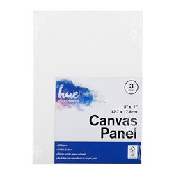 Canvas Panel Cotton 280gsm 3mm 5x7in 3pk P3.1 FSC-Mix 70%