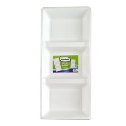 Plate 3 Compartment White Plastic Pk2