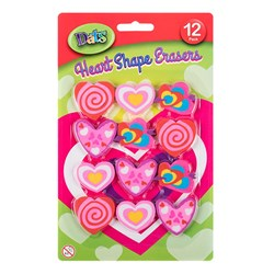 Eraser Heart Shaped 12pk