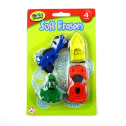 Eraser Soft Boys Designs 4pk