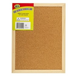 Corkboard Wooden Frame 230x300mm w 2pc Push Pins