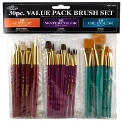 Brush Set 30 PC Bristle/Camel/Gold Taklon